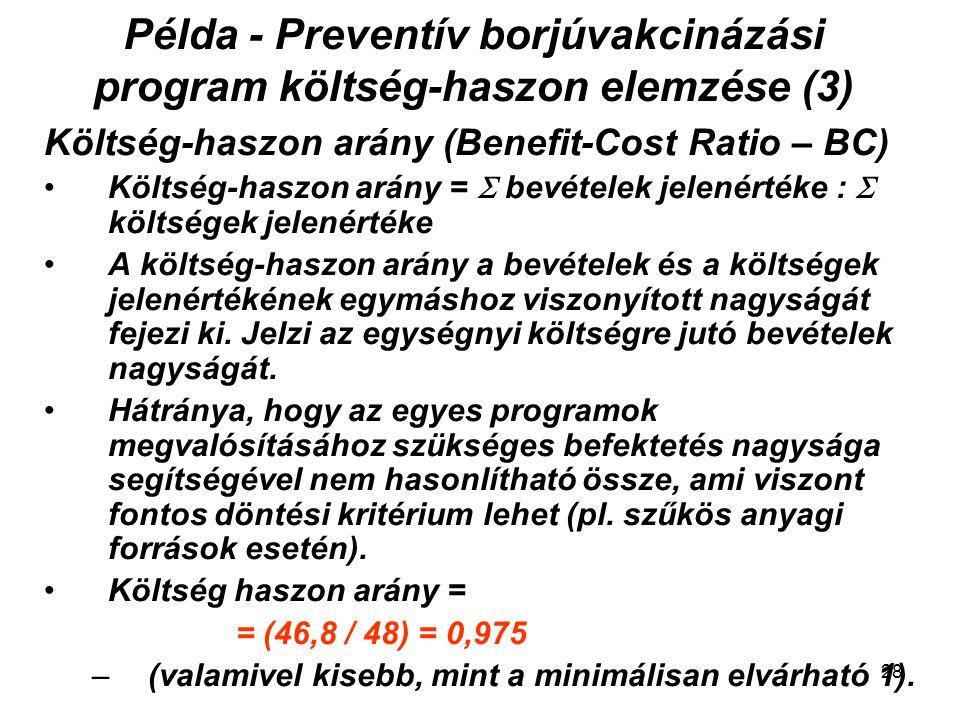 Példa - Preventív borjúvakcinázási program költség-haszon elemzése (3) Költség-haszon arány (Benefit-Cost Ratio – BC) Költség-haszon arány =  bevétel