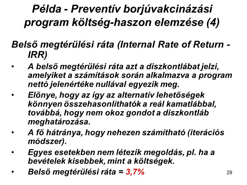 Példa - Preventív borjúvakcinázási program költség-haszon elemzése (4) Belső megtérülési ráta (Internal Rate of Return - IRR) A belső megtérülési ráta