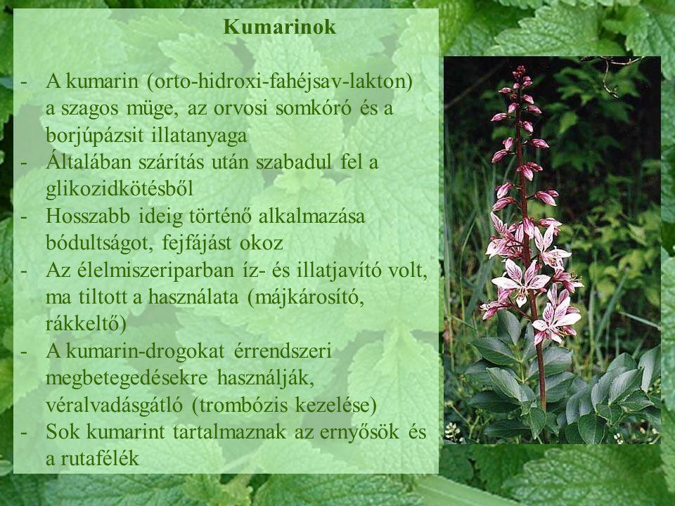 Kumarinok -A kumarin (orto-hidroxi-fahéjsav-lakton) a szagos müge, az orvosi somkóró és a borjúpázsit illatanyaga -Általában szárítás után szabadul fe