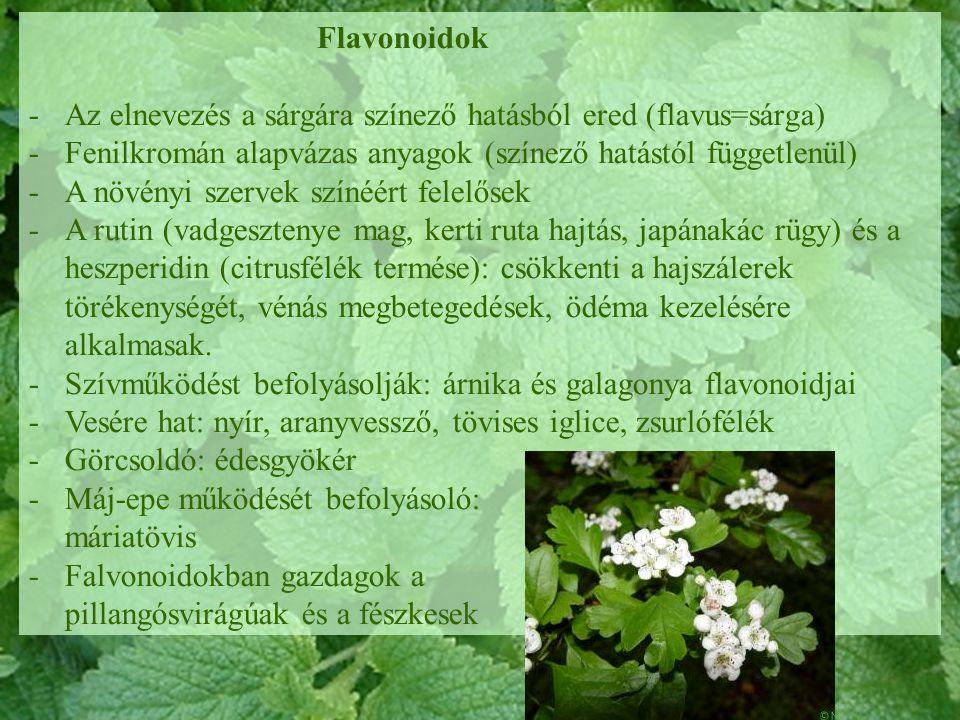 Flavonoidok -Az elnevezés a sárgára színező hatásból ered (flavus=sárga) -Fenilkromán alapvázas anyagok (színező hatástól függetlenül) -A növényi szer