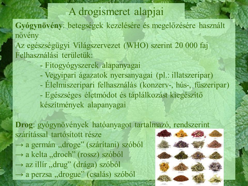 A növényi drog a gyógynövényeknek a Gyógyszerkönyvben és a Magyar Szabványban leírt része vagy annak meghatározott eljárással készített terméke, tehát a növényi drog: 1.A felhasznált gyógynövény legtöbb hatóanyagot tartalmazó része, melyet többnyire szárítással tartósítanak 2.A növényi nyersanyagból előállított termék (pl.: illóolaj, gyanta) 3.A növényi nyersanyagból átalakítással nyert anyag (pl.: kátrány) A drogok elnevezése II.