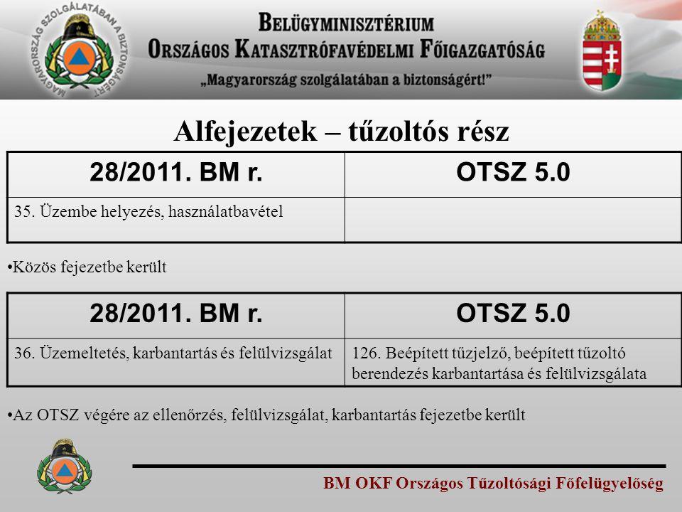 BM OKF Országos Tűzoltósági Főfelügyelőség Alfejezetek – tűzoltós rész 28/2011. BM r.OTSZ 5.0 35. Üzembe helyezés, használatbavétel Közös fejezetbe ke