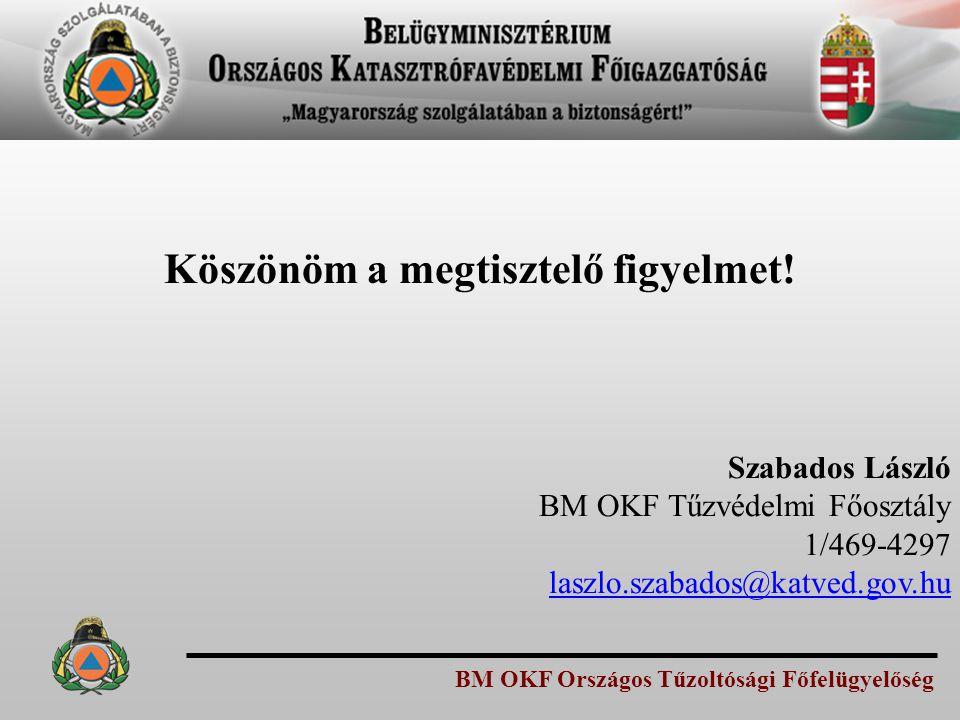 BM OKF Országos Tűzoltósági Főfelügyelőség Köszönöm a megtisztelő figyelmet! Szabados László BM OKF Tűzvédelmi Főosztály 1/469-4297 laszlo.szabados@ka