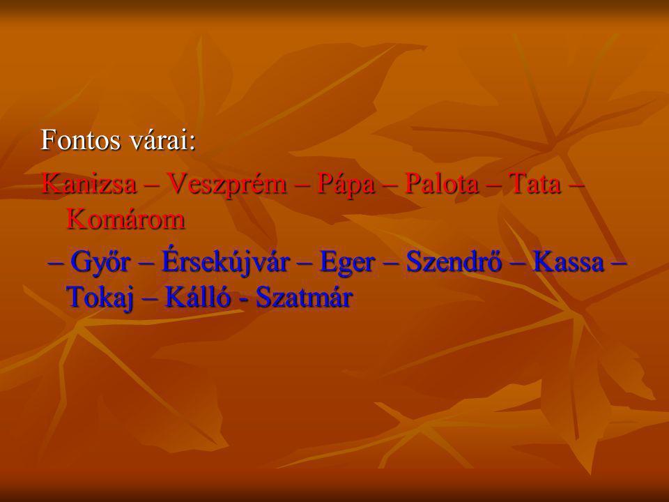 Fontos várai: Kanizsa – Veszprém – Pápa – Palota – Tata – Komárom – Győr – Érsekújvár – Eger – Szendrő – Kassa – Tokaj – Kálló - Szatmár – Győr – Érse