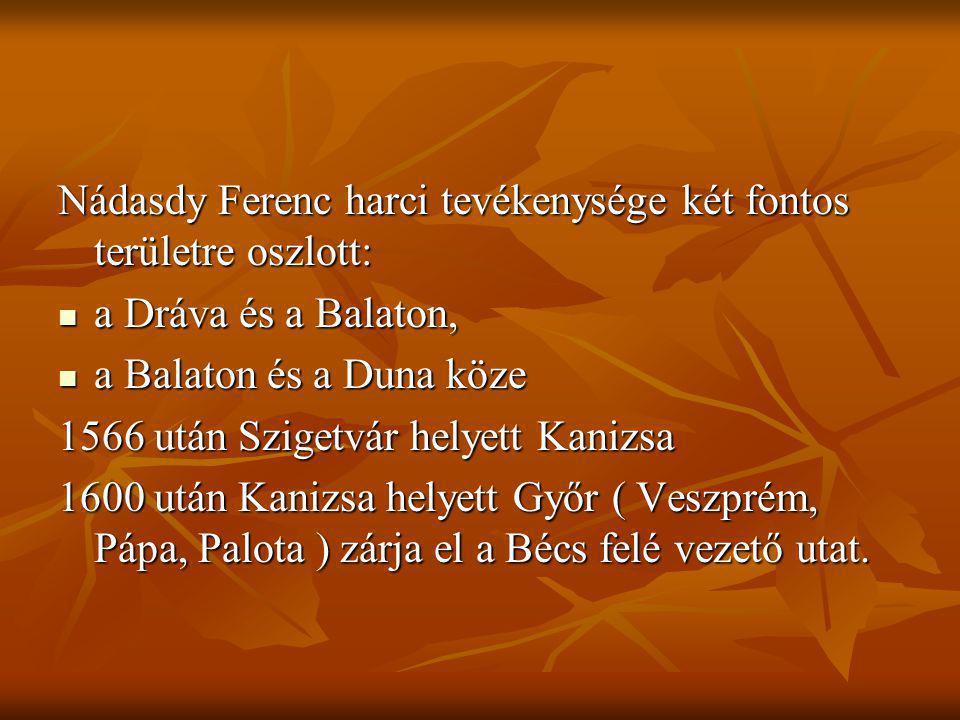 Nádasdy Ferenc harci tevékenysége két fontos területre oszlott: a Dráva és a Balaton, a Dráva és a Balaton, a Balaton és a Duna köze a Balaton és a Du