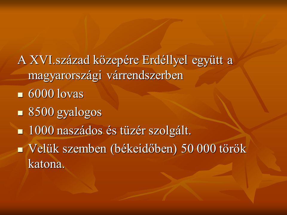 A XVI.század közepére Erdéllyel együtt a magyarországi várrendszerben 6000 lovas 6000 lovas 8500 gyalogos 8500 gyalogos 1000 naszádos és tüzér szolgál