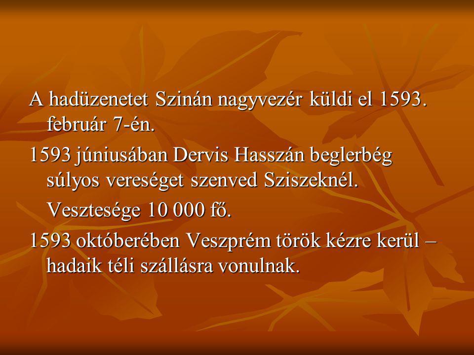 A hadüzenetet Szinán nagyvezér küldi el 1593. február 7-én. 1593 júniusában Dervis Hasszán beglerbég súlyos vereséget szenved Sziszeknél. Vesztesége 1