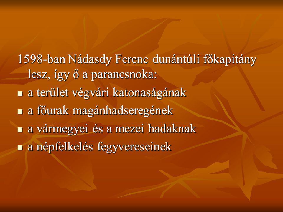1598-ban Nádasdy Ferenc dunántúli főkapitány lesz, így ő a parancsnoka: a terület végvári katonaságának a terület végvári katonaságának a főurak magán