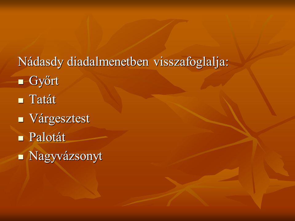 Nádasdy diadalmenetben visszafoglalja: Győrt Győrt Tatát Tatát Várgesztest Várgesztest Palotát Palotát Nagyvázsonyt Nagyvázsonyt