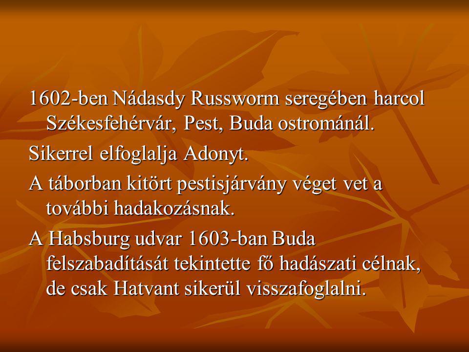 1602-ben Nádasdy Russworm seregében harcol Székesfehérvár, Pest, Buda ostrománál. Sikerrel elfoglalja Adonyt. A táborban kitört pestisjárvány véget ve