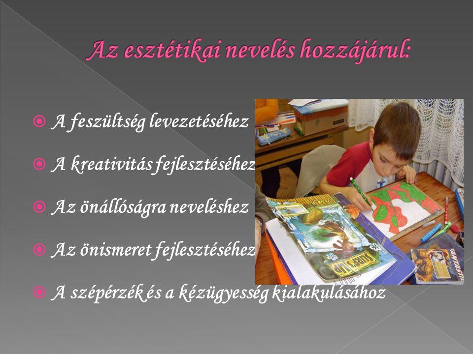  A feszültség levezetéséhez  A kreativitás fejlesztéséhez  Az önállóságra neveléshez  Az önismeret fejlesztéséhez  A szépérzék és a kézügyesség k