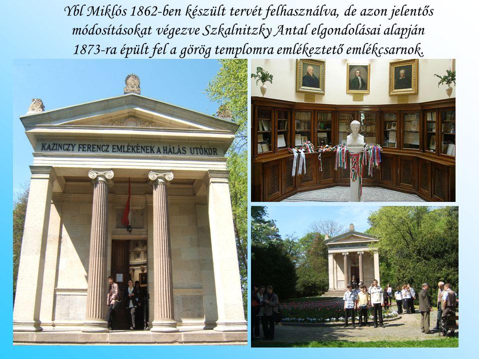 Ybl Miklós 1862-ben készült tervét felhasználva, de azon jelentős módosításokat végezve Szkalnitzky Antal elgondolásai alapján 1873-ra épült fel a görög templomra emlékeztető emlékcsarnok.