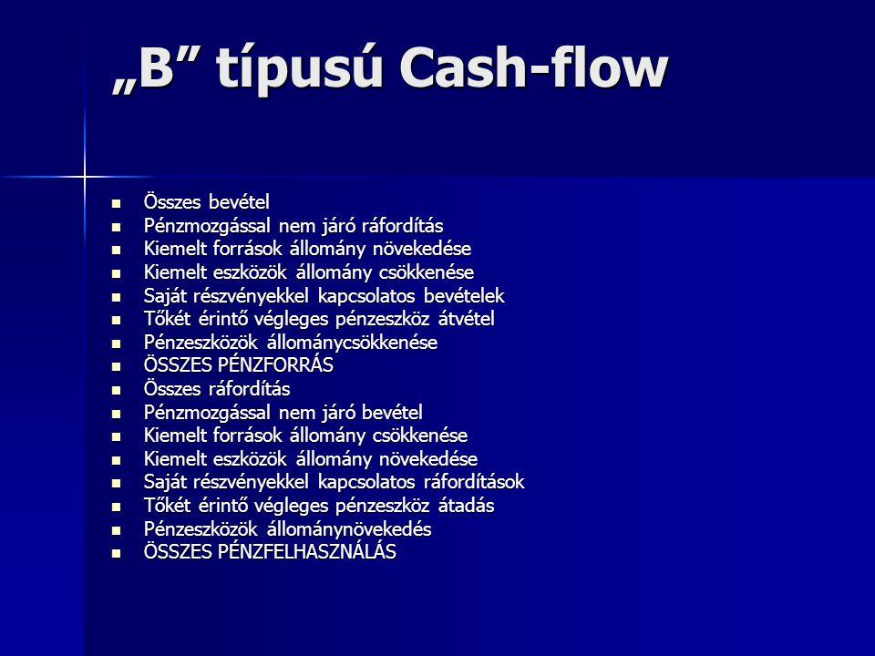 """""""B"""" típusú Cash-flow Összes bevétel Összes bevétel Pénzmozgással nem járó ráfordítás Pénzmozgással nem járó ráfordítás Kiemelt források állomány növek"""