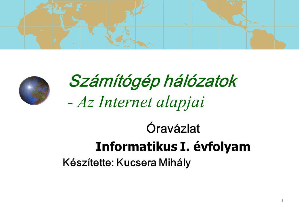 1 Számítógép hálózatok - Az Internet alapjai Óravázlat Informatikus I. évfolyam Készítette: Kucsera Mihály