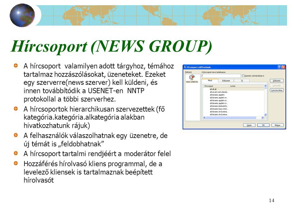 14 Hírcsoport (NEWS GROUP) A hírcsoport valamilyen adott tárgyhoz, témához tartalmaz hozzászólásokat, üzeneteket. Ezeket egy szerverre(news szerver) k