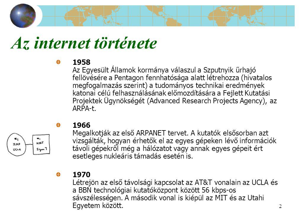 3 Az internet története (folyt.) 1971 A BBN egy olyan terminált fejleszt ki, amely lehetővé teszi, hogy a hálózatba kötött gépek a korábbi négy helyett akár hatvannégy külső kapcsolatot is létesítsenek.