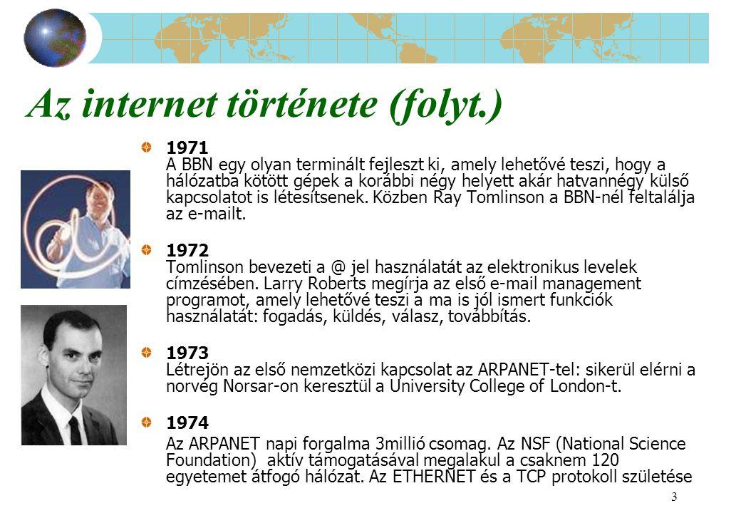 3 Az internet története (folyt.) 1971 A BBN egy olyan terminált fejleszt ki, amely lehetővé teszi, hogy a hálózatba kötött gépek a korábbi négy helyet