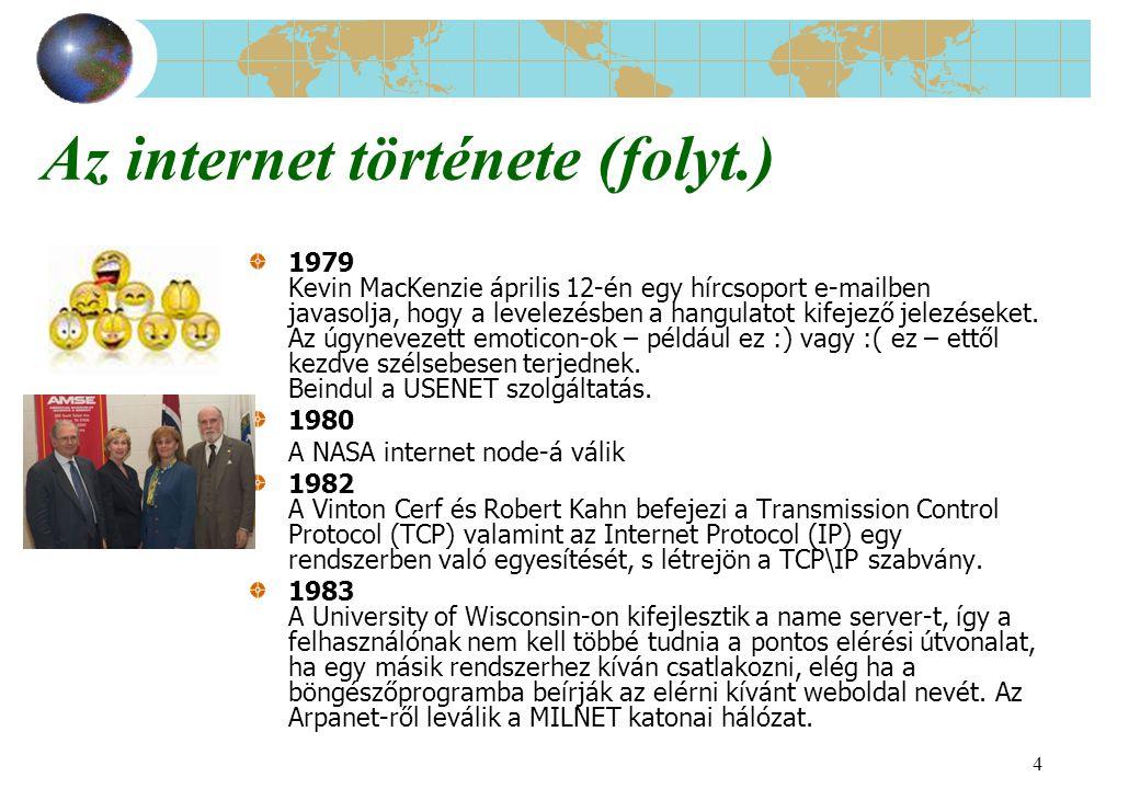 4 Az internet története (folyt.) 1979 Kevin MacKenzie április 12-én egy hírcsoport e-mailben javasolja, hogy a levelezésben a hangulatot kifejező jele