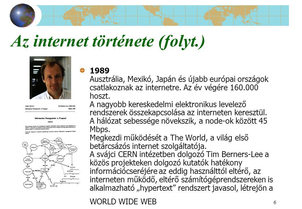 6 Az internet története (folyt.) 1989 Ausztrália, Mexikó, Japán és újabb európai országok csatlakoznak az internetre. Az év végére 160.000 hoszt. A na