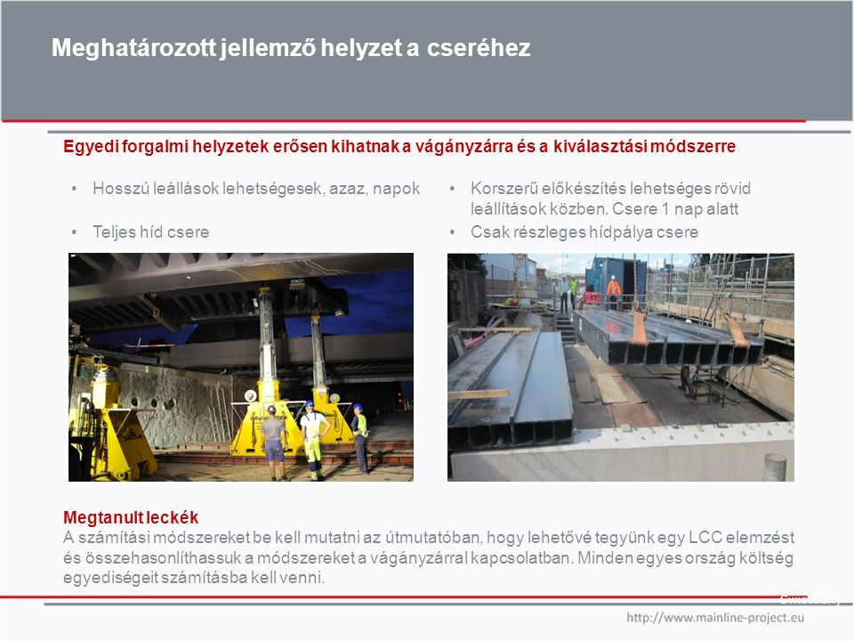 Meghatározott lehetőség a javításra –Javítani a logisztikát a híd és kitérőcsere szempontjából BrIM (Híd információ modellezés) a vasúti környezetben Összegyűjteni a tapasztalatokat a konzorciumban Javítani a kis híd cserélési módszereket ---Európai szabványos híd ?.