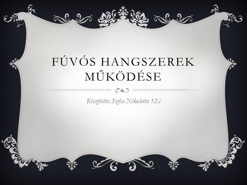 FÚVÓS HANGSZEREK MŰKÖDÉSE Készítette: Szűcs Nikoletta 12.c