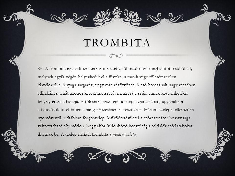 TROMBITA  A trombita egy változó keresztmetszetű, többszörösen meghajlított csőből áll, melynek egyik végén helyezkedik el a fúvóka, a másik vége töl
