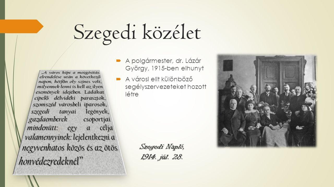 Szegedi közélet  A polgármester, dr. Lázár György, 1915-ben elhunyt  A városi elit különböző segélyszervezeteket hozott létre Szegedi Napló, 1914. j