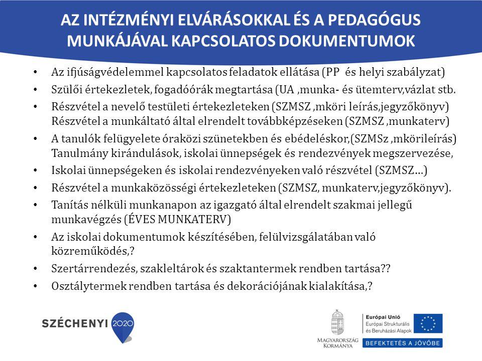 AZ INTÉZMÉNYI ELVÁRÁSOKKAL ÉS A PEDAGÓGUS MUNKÁJÁVAL KAPCSOLATOS DOKUMENTUMOK Az ifjúságvédelemmel kapcsolatos feladatok ellátása (PP és helyi szabályzat) Szülői értekezletek, fogadóórák megtartása (UA,munka- és ütemterv,vázlat stb.