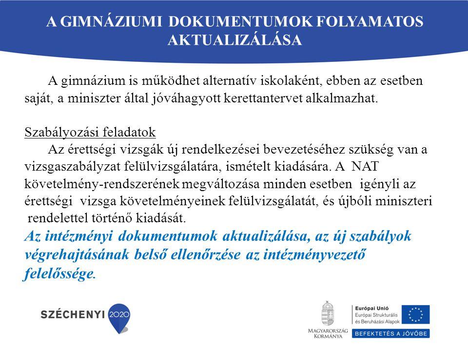 VÁLTOZÁS A GIMNÁZIUMI ÉRETTSÉGI TANTÁRGYAKBAN (6) A 2013/2014.