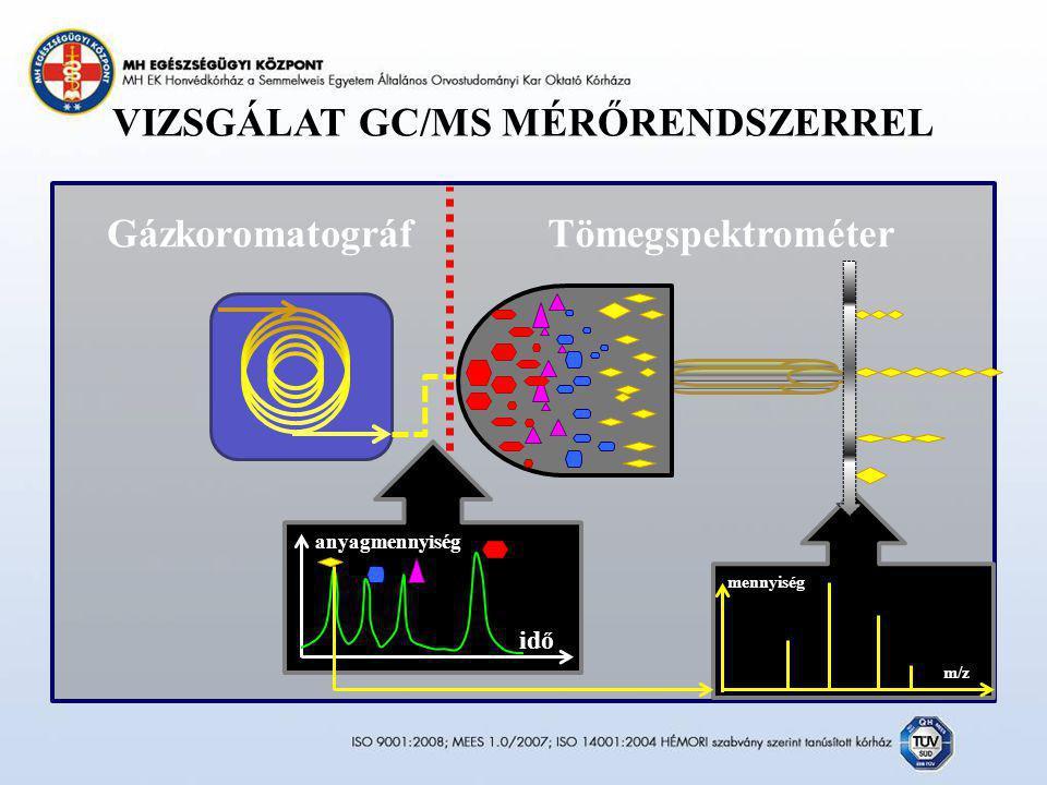 VIZSGÁLAT GC/MS MÉRŐRENDSZERREL idő anyagmennyiség mennyiség m/z TömegspektrométerGázkoromatográf