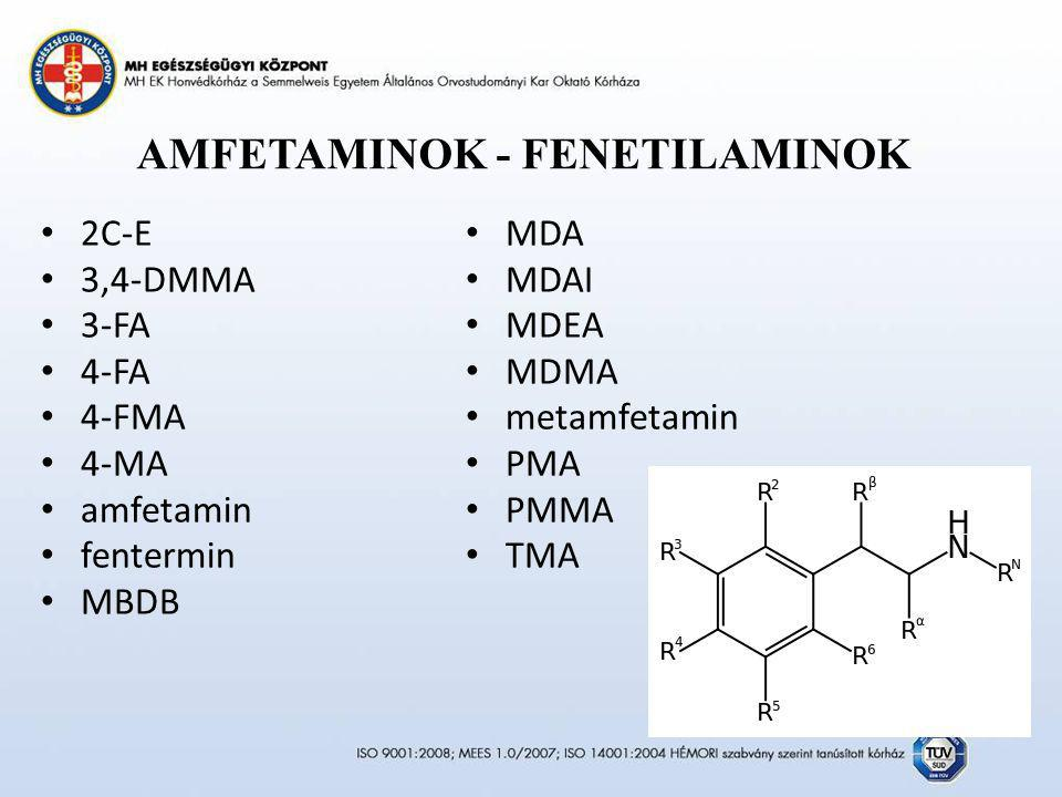 AMFETAMINOK - FENETILAMINOK 2C-E 3,4-DMMA 3-FA 4-FA 4-FMA 4-MA amfetamin fentermin MBDB MDA MDAI MDEA MDMA metamfetamin PMA PMMA TMA