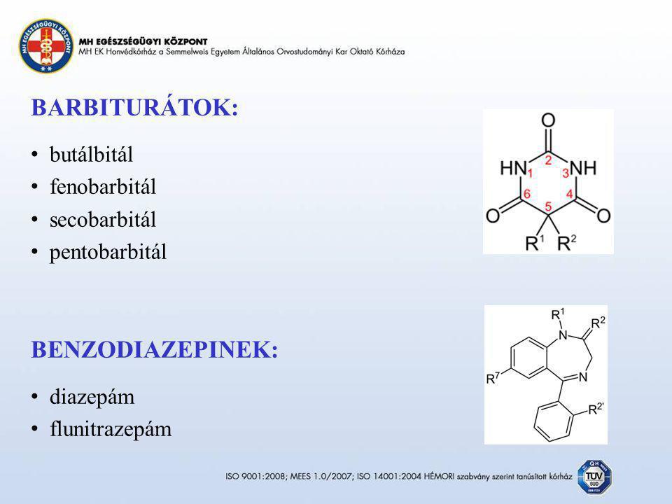 BARBITURÁTOK: butálbitál fenobarbitál secobarbitál pentobarbitál BENZODIAZEPINEK: diazepám flunitrazepám