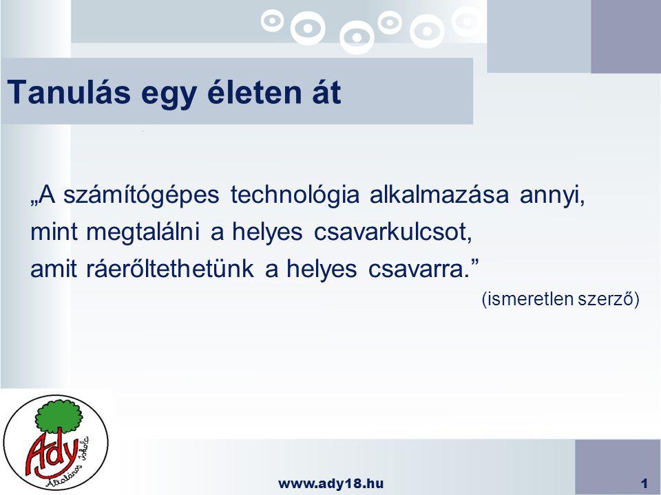 www.ady18.hu2 IKT eszközeink n Számítógépek (asztali, hordozható) n Projektorok n Interaktív táblák n Digitális fényképezőgépek n Digitális videokamera n Pendrivek n CD- DVD író/olvasók n Webkamerák n Nyomtatók n Scannerek n Hálózati eszközök