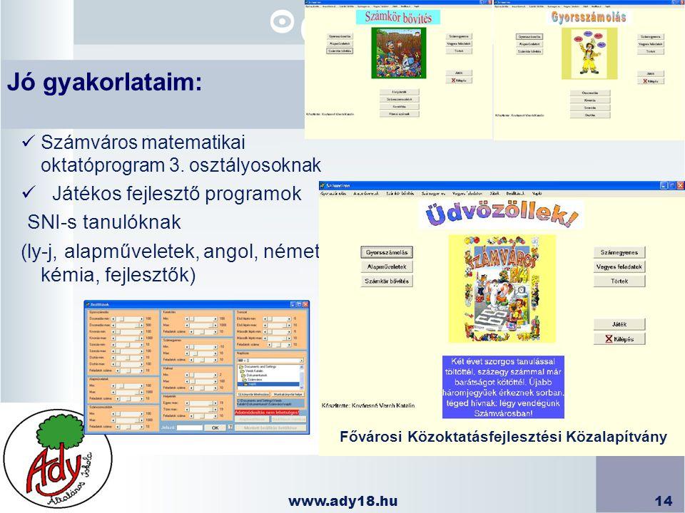 www.ady18.hu14 Számváros matematikai oktatóprogram 3. osztályosoknak Játékos fejlesztő programok SNI-s tanulóknak (ly-j, alapműveletek, angol, német,