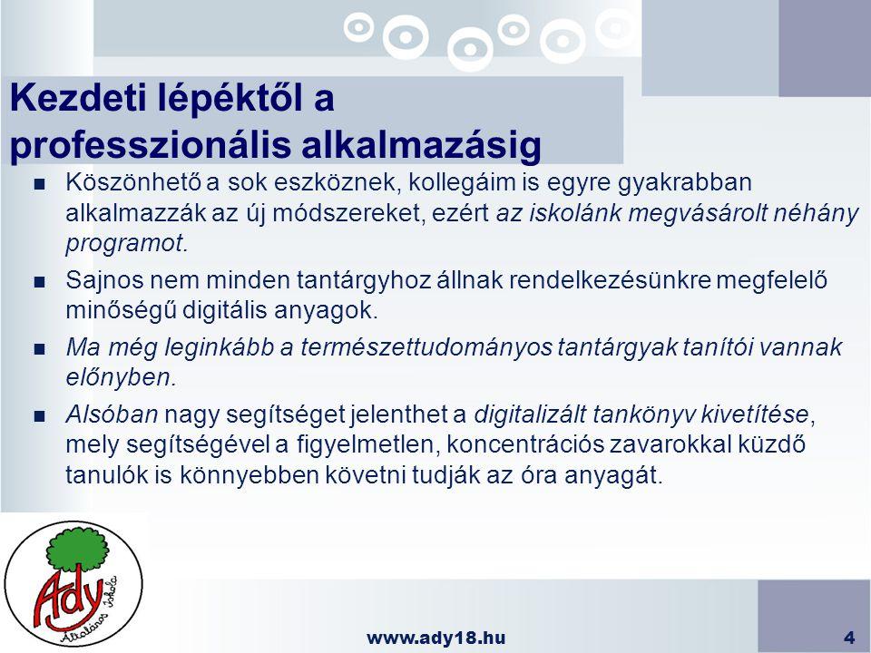 www.ady18.hu4 Kezdeti lépéktől a professzionális alkalmazásig n Köszönhető a sok eszköznek, kollegáim is egyre gyakrabban alkalmazzák az új módszereke