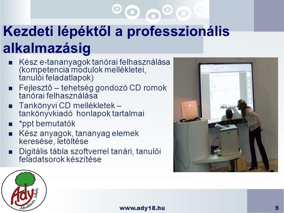 www.ady18.hu5 Kezdeti lépéktől a professzionális alkalmazásig n Kész e-tananyagok tanórai felhasználása (kompetencia modulok mellékletei, tanulói fela