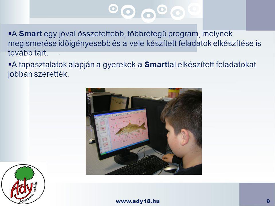 www.ady18.hu9  A Smart egy jóval összetettebb, többrétegű program, melynek megismerése időigényesebb és a vele készített feladatok elkészítése is tov