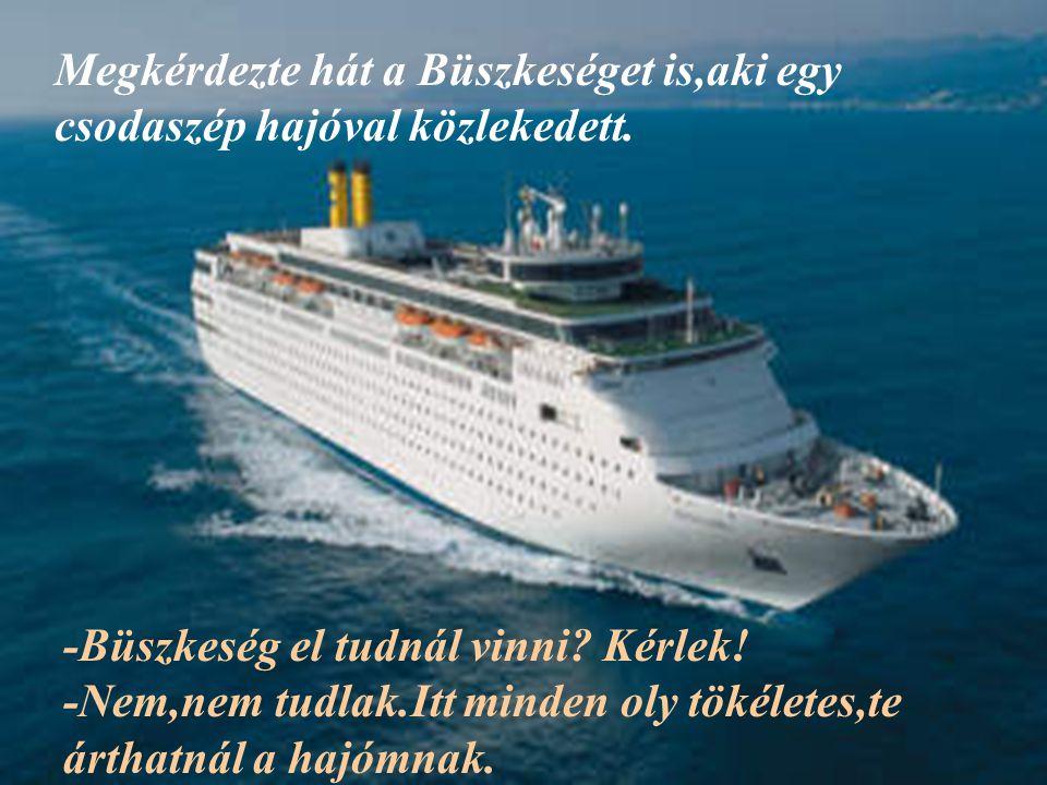 Megkérdezte hát a Büszkeséget is,aki egy csodaszép hajóval közlekedett.