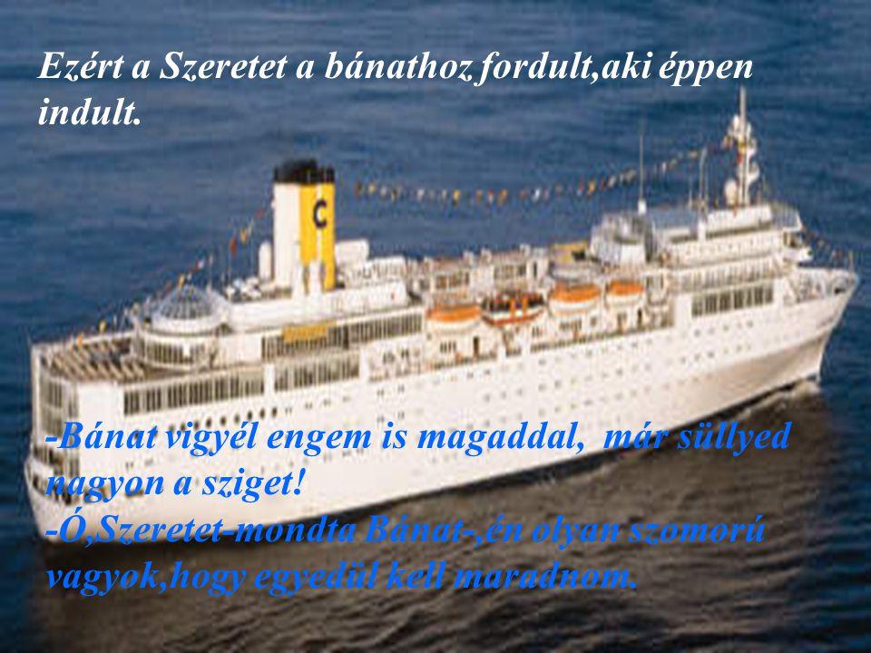 Megkérdezte hát a Büszkeséget is,aki egy csodaszép hajóval közlekedett. -Büszkeség el tudnál vinni? Kérlek! -Nem,nem tudlak.Itt minden oly tökéletes,t