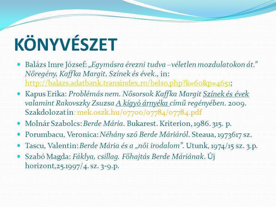 """KÖNYVÉSZET Balázs Imre József: """"Egymásra érezni tudva –véletlen mozdulatokon át."""" Nőregény, Kaffka Margit, Színek és évek., in: http://balazs.adatbank"""