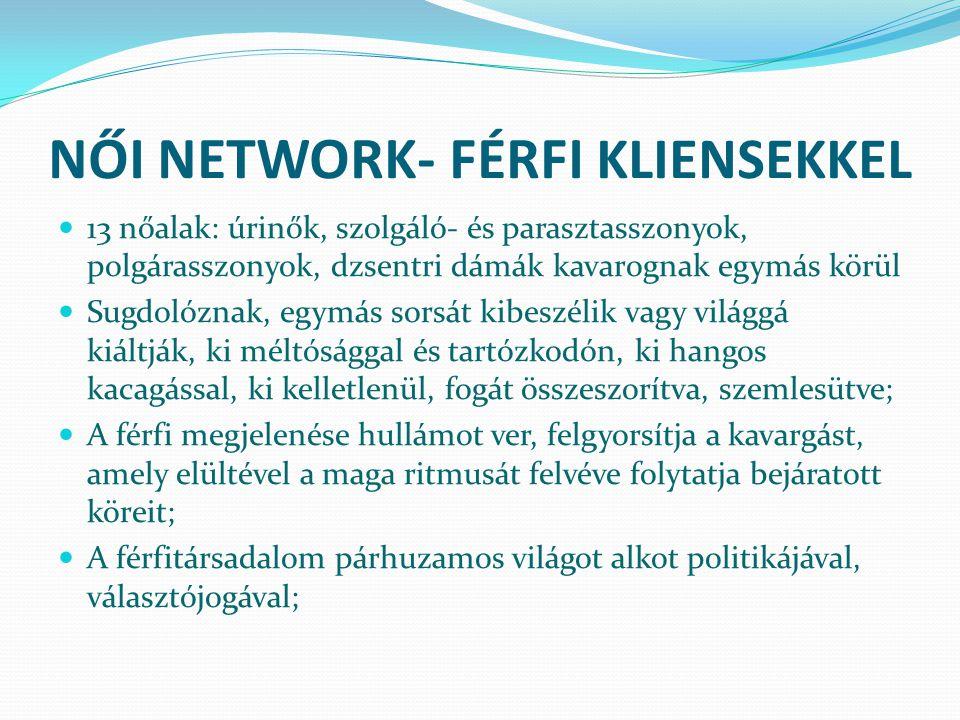 NŐI NETWORK- FÉRFI KLIENSEKKEL 13 nőalak: úrinők, szolgáló- és parasztasszonyok, polgárasszonyok, dzsentri dámák kavarognak egymás körül Sugdolóznak,