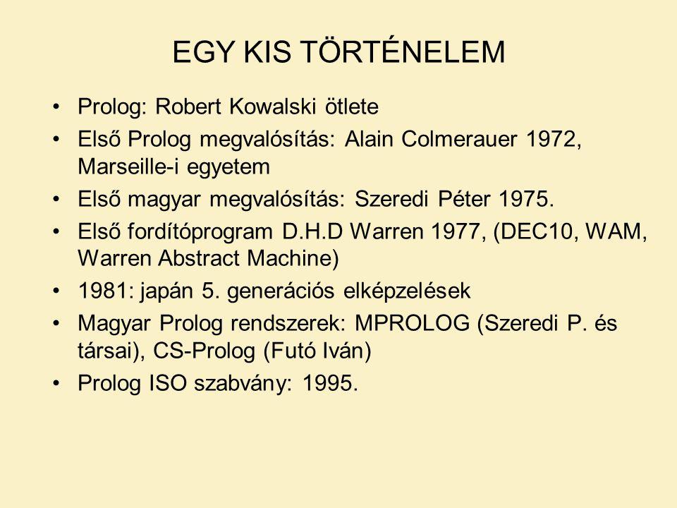 EGY KIS TÖRTÉNELEM Prolog: Robert Kowalski ötlete Első Prolog megvalósítás: Alain Colmerauer 1972, Marseille-i egyetem Első magyar megvalósítás: Szeredi Péter 1975.