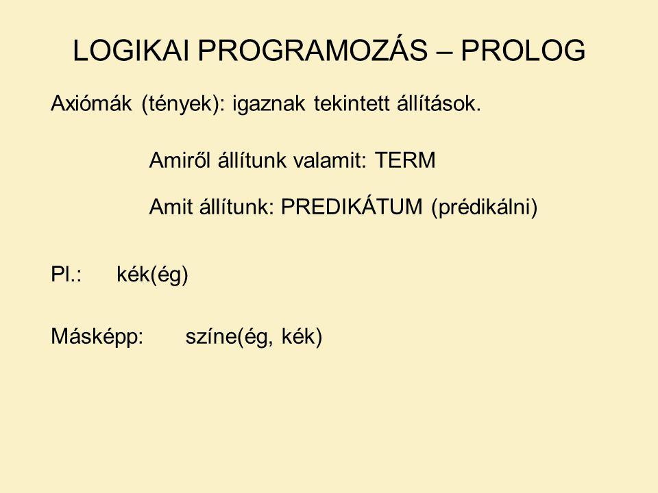 LOGIKAI PROGRAMOZÁS – PROLOG Axiómák (tények): igaznak tekintett állítások.
