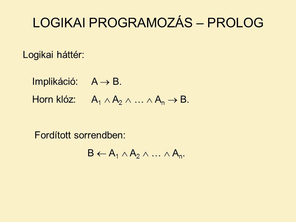 LOGIKAI PROGRAMOZÁS – PROLOG Logikai háttér: Implikáció:A  B.