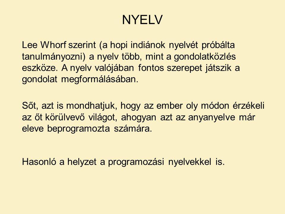 NYELV Lee Whorf szerint (a hopi indiánok nyelvét próbálta tanulmányozni) a nyelv több, mint a gondolatközlés eszköze.