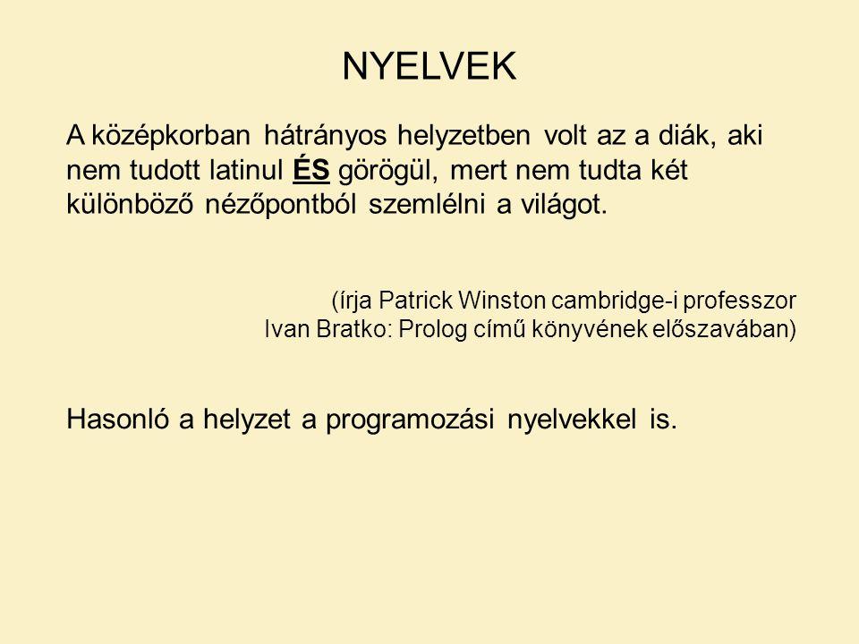 NYELVEK A középkorban hátrányos helyzetben volt az a diák, aki nem tudott latinul ÉS görögül, mert nem tudta két különböző nézőpontból szemlélni a világot.