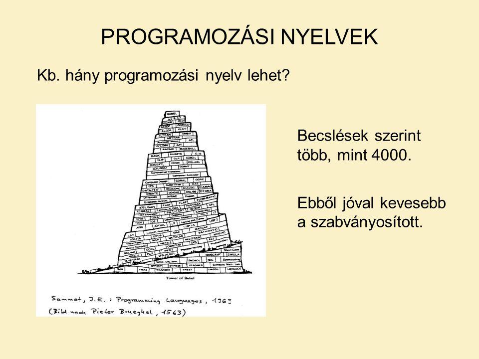 PROGRAMOZÁSI NYELVEK Kb.hány programozási nyelv lehet.