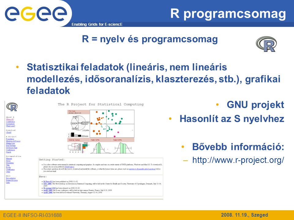 Enabling Grids for E-sciencE EGEE-II INFSO-RI-031688 2008. 11.19., Szeged R programcsomag R = nyelv és programcsomag Statisztikai feladatok (lineáris,