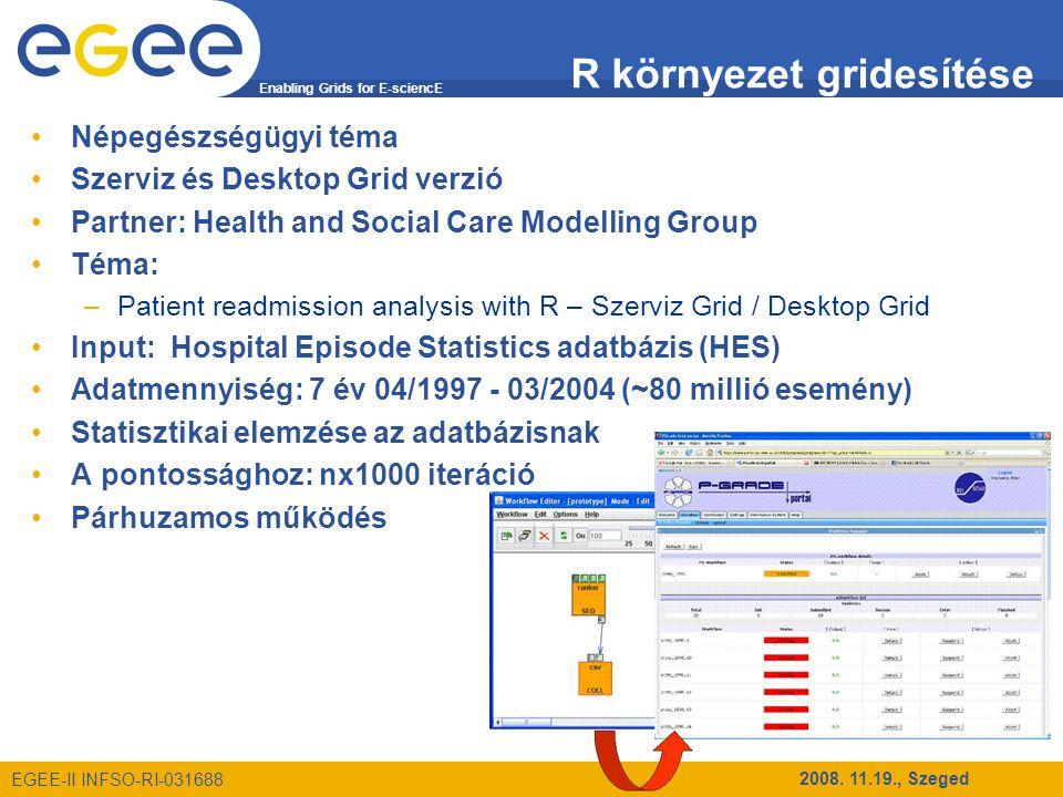 Enabling Grids for E-sciencE EGEE-II INFSO-RI-031688 2008. 11.19., Szeged R környezet gridesítése Népegészségügyi téma Szerviz és Desktop Grid verzió
