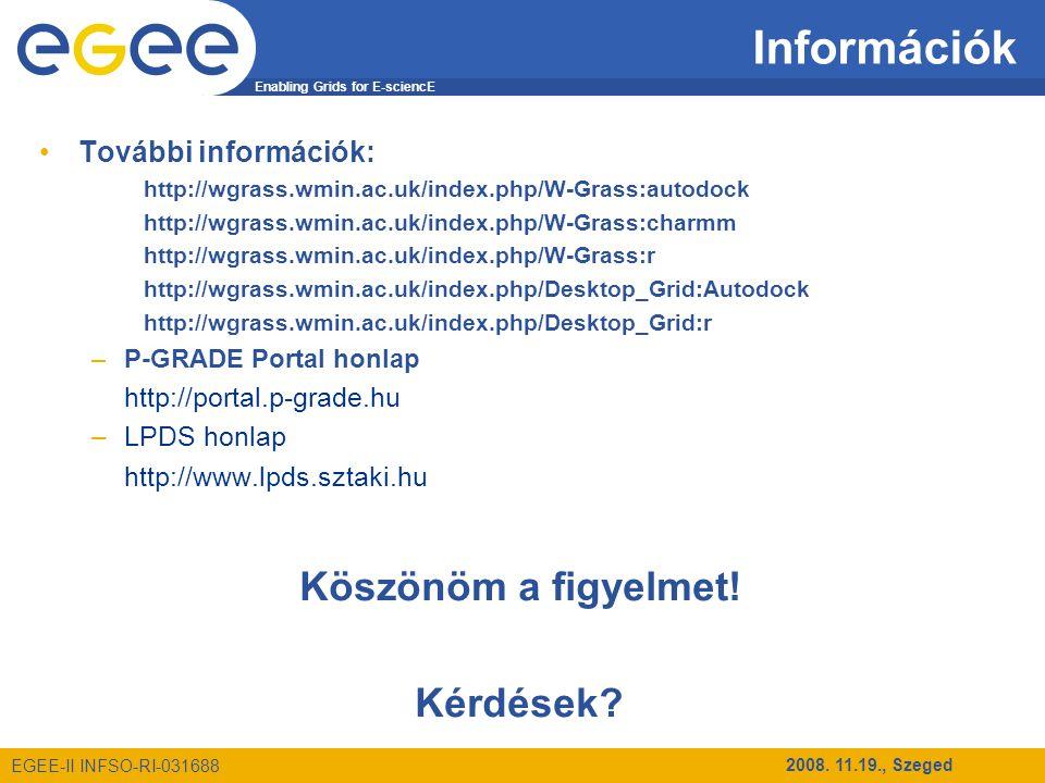 Enabling Grids for E-sciencE EGEE-II INFSO-RI-031688 2008. 11.19., Szeged Információk További információk: http://wgrass.wmin.ac.uk/index.php/W-Grass:
